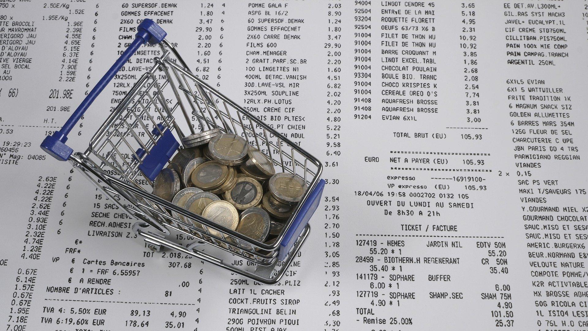 Geld im Einkaufskorb